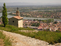 Chapel on a Hill. A chapel overlooks the Rhone River and the vineyards of Paul Jaboulet Stock Photos