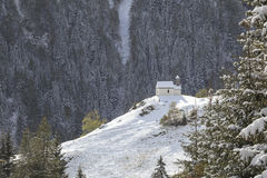 Chapel on a hill. Chapel on the hill of mountain forest Stock Photography