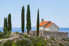 Chapel on the hill with a nice view of the sea. In Trpanj, Croatia royalty free stock photo