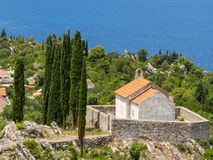 Chapel on the hill with a nice view of the sea. In Trpanj, Croatia royalty free stock photography