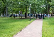 Chapel Hill North Carolina, United States-August 25, 2018-Demons. Chapel Hill, NC/United States-August 25-2018:Demonstratiion at Silent Sam Statue, UNC Campus Royalty Free Stock Photography