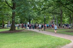 Chapel Hill North Carolina, United States-August 25, 2018-Demons. Chapel Hill, NC/United States-August 25-2018:Demonstration at Silent Sam Statue, UNC Campus Stock Photo