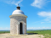 Chapel on the hill over vineyards Royalty Free Stock Image