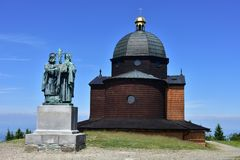 Chapel on hill Radhost. Sculptural group Methods and Cyril in Czech republic stock photo