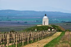 Chapel on the hill in Velkebilovice stock image