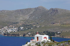 Chapel on a hillock on Leros island, Greece Royalty Free Stock Images