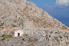 Chapel in the hills, Halki Royalty Free Stock Images