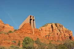 Chapel of the Holy Cross. Is built into the red rock formations in Sedona, Arizona stock photos