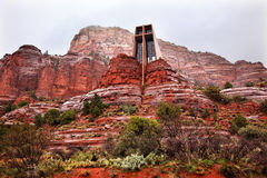 Chapel Holy Cross Red Rock Canyon Rain Sedona Stock Images