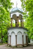 Chapel of the Holy Sepulchre on Petrin Hill. Was built in 1737 according to a chapel in Jerusalem. A sun beam falls right on the sacrificial stone during royalty free stock images