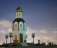 The chapel of the Holy Vladimir icon of the Mother of God in the moonlight stock photography