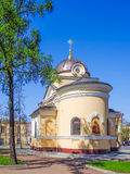 Chapel in honor of Our Lady of Tikhvin. Orthodox church in honor of Our Lady of Tikhvin in the town of Kronstadt Royalty Free Stock Photo