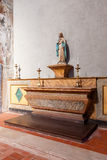 Chapel with an image of Our Lady or Virgin Mary on a marble altar. Hospital de Jesus Cristo Church. Stock Images