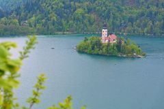 Bled Lake in Slovenia with the Assumption of Mary Church. Chapel on island on Bled lake, Slovenia royalty free stock photos