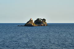 The chapel on the island. Near Petrovac town, Montenegro Stock Photos
