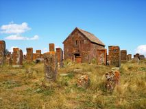 Chapel and khachkars in Noratus, Armenia  Royalty Free Stock Photo