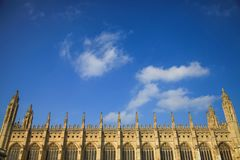 Chapel in King`s College in Cambridge University under blue sky Royalty Free Stock Image