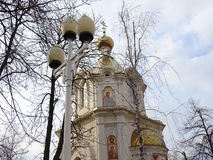 Chapel and a lantern at the center of the city of Krasnodar Royalty Free Stock Photo