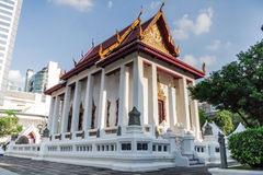 Chapel large white Thai temple. Royalty Free Stock Images