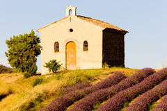Chapel with lavender field Royalty Free Stock Photography