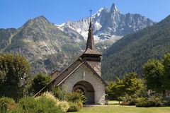 Chapel of Les Praz and the Drus Stock Image