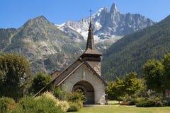 Chapel of Les Praz and the Drus. Chapel of Les Praz de Chamonix and the Drus in Haute-Savoie, France Stock Image