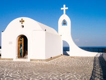 Chapel. A little white chapel on the hills top in Faliraki. Rhodes Royalty Free Stock Photo