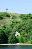 Chapel Lupov. Chapel which grew underneath it into a brushy scarp. It was built over the crypt of a heroic captain of Russian-Japanese War 1904-1905 A.N. Lupov Stock Image