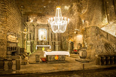 Chapel in the main hall in the Wieliczka. KRAKOW, POLAND - June 3, 2014 Chapel in the main hall in the Wieliczka Salt Mine Stock Images