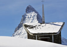 Chapel and the Matterhorn Stock Photo