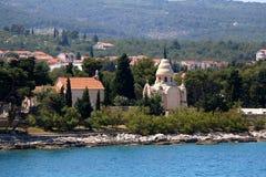 Supetar, Croatia. Chapel and mausoleum on a historic cemetery in Supetar, island Brac, Croatia stock photos