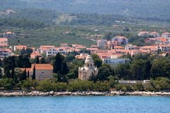 Supetar, Croatia. Chapel and mausoleum on a historic cemetery in Supetar, island Brac, Croatia stock photo