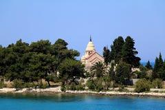 Supetar, Croatia. Chapel and mausoleum on a historic cemetery in Supetar, island Brac, Croatia royalty free stock photography
