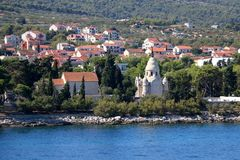 Supetar, Croatia. Chapel and mausoleum on a historic cemetery in Supetar, island Brac, Croatia royalty free stock image