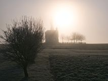 Chapel in the morning mist royalty free stock photos
