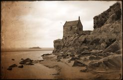 Chapel Mount St Michel. Back side of the Sint Michel in Normandy, France royalty free stock photos