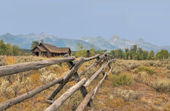 Chapel by the Mountains. Rustic Chapel by Mountain Range stock photo