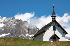 Chapel in the mountains. The chapel near Belalp (Switzerland) against the mountains and a blue sky Stock Photography