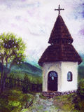 Chapel in nature, color oil painting. Beauty  mountains in the background Stock Image