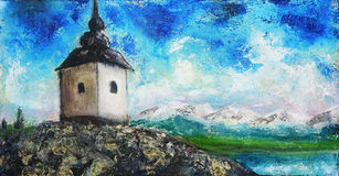 Chapel in nature, color oil painting. Beauty of the snowy mountains and lake in the background Royalty Free Stock Photography