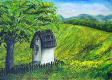 Chapel in nature under the linden tree, color oil painting. Beau Royalty Free Stock Photography