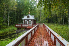 Chapel near the source of the river Volga. Stock Images