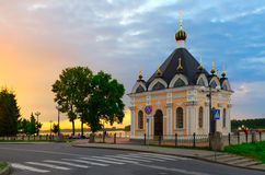 Chapel Nicholas Miracle Worker on waterfront at sunset, Rybinsk, Royalty Free Stock Images