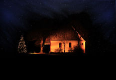 Chapel in the Night. This image shows a lighted chapel in the night stock photos