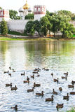 Chapel of the Novodevichy Convent and pond. View of the Chapel of the Novodevichy Convent and pond with birds Stock Photo