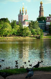 Chapel of the Novodevichy Convent. View of the Chapel of the Novodevichy Convent and pond with birds Stock Photos
