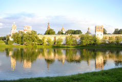 Chapel of the Novodevichy Convent. View of the Chapel of the Novodevichy Convent and pond with birds Royalty Free Stock Image
