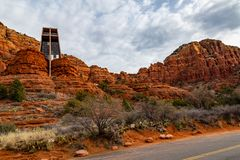 Free Chapel Of The Holy Cross Sedona AZ Wideangle View From The Back Road. Stock Photo - 140376220