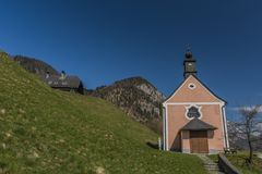 Chapel over Ebensee town with nice blue sky Royalty Free Stock Photos