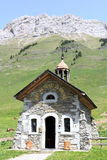 Chapel of the pass of Aravis. Symbol of the massif of Aravis Stock Photos